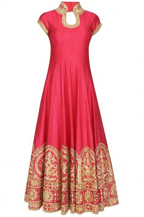 This anarkali is in pink raw silk fabric with gold gota patti lace work highlighted with gold sequins embellishment on the ghera around the hem, neckline and sl