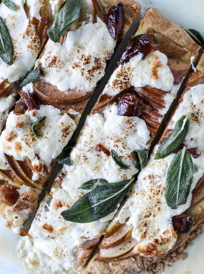 savory pear flatbread with dates, burrata cheese and crispy sage I howsweeteats.com