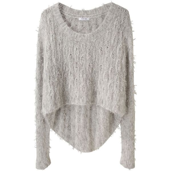 Helmut Lang Angora Floats Pullover (€215) ❤ liked on Polyvore featuring tops, sweaters, shirts, jumpers, cropped tops, long brown sweater, pullover shirt, brown sweater and crop shirt
