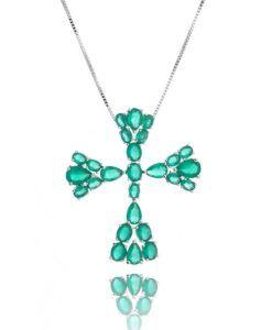 crucifixo prata com zirconias turmalina e banho de rodio semi joias religiosas online