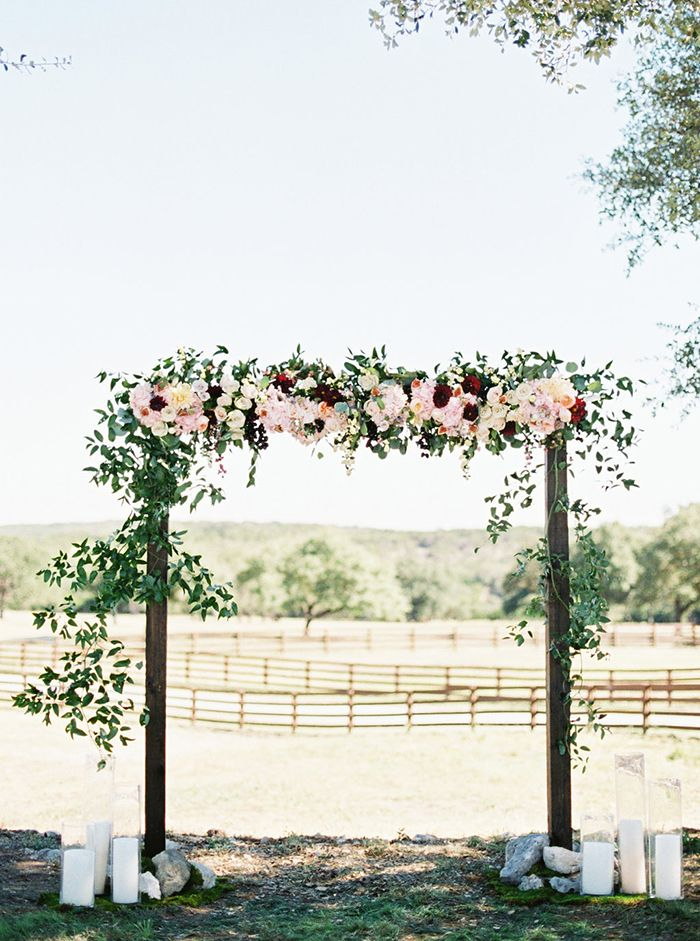Fall Floral Ceremony Arch #ceremonydecor #ranchwedding #ceremony