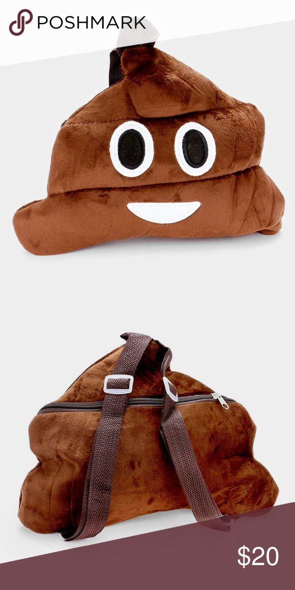 """Poop grin emoji backpack bag • Color : Brown  • Size : 12"""" W, 9.5"""" H, 1"""" D • Strap Size : 20"""" L / Adjustable • Poop grin emoji backpack bag Bags Backpacks"""