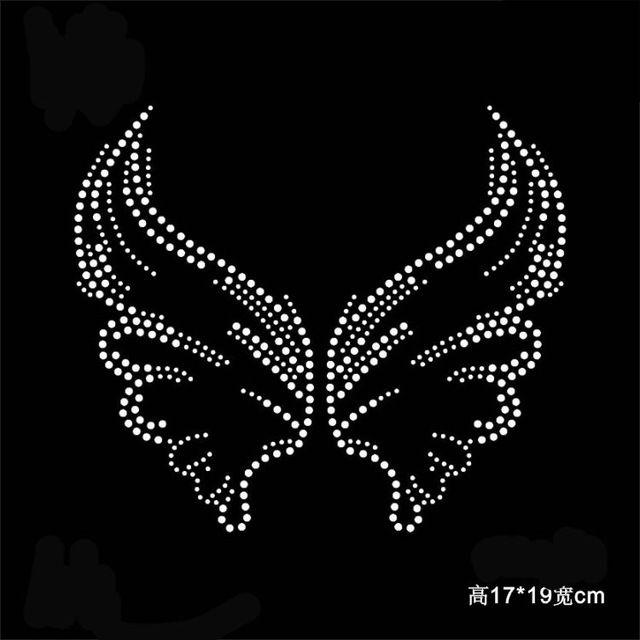 2 pc/lote Angel wings remendos motivos de transferência hot fix strass ferro em transferências de cristal projeto applique patches