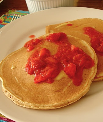 the test nest-Whole Wheat Pancakes with Strawberry Sauce.