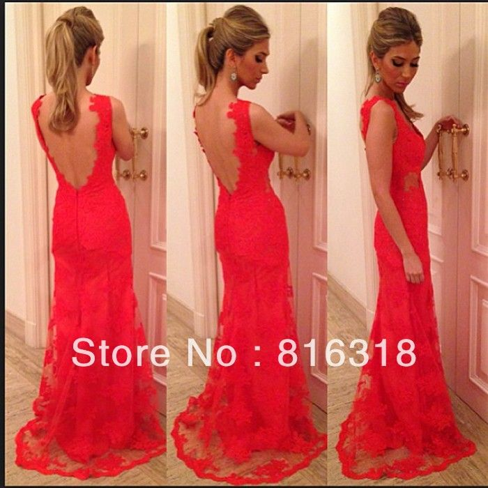 Vestidos Formales Open Back Lace Evening Dress Plus Size Red Evening Gown 2014 Evening Dress Long Vestidos De Fiesta Sexy $160.00