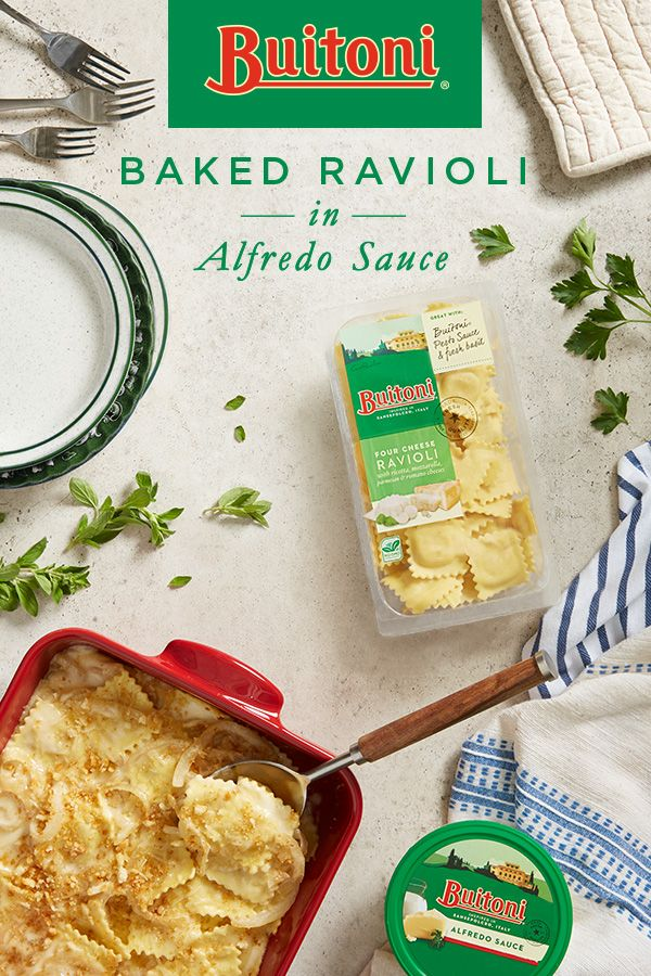 This meatless cheese ravioli pasta bake will please even the pickiest of taste buds. Sautéed onion enhances the Buitoni Refrigerated Alfredo Sauce, creating a creamy drizzle to pour over the freshly made Four Cheese Ravioli. The dinner is finished off in the oven, sprinkled with Buitoni Freshly Shredded Parmesan Cheese and rustic bread crumbs, baking to become an inviting golden brown crust.