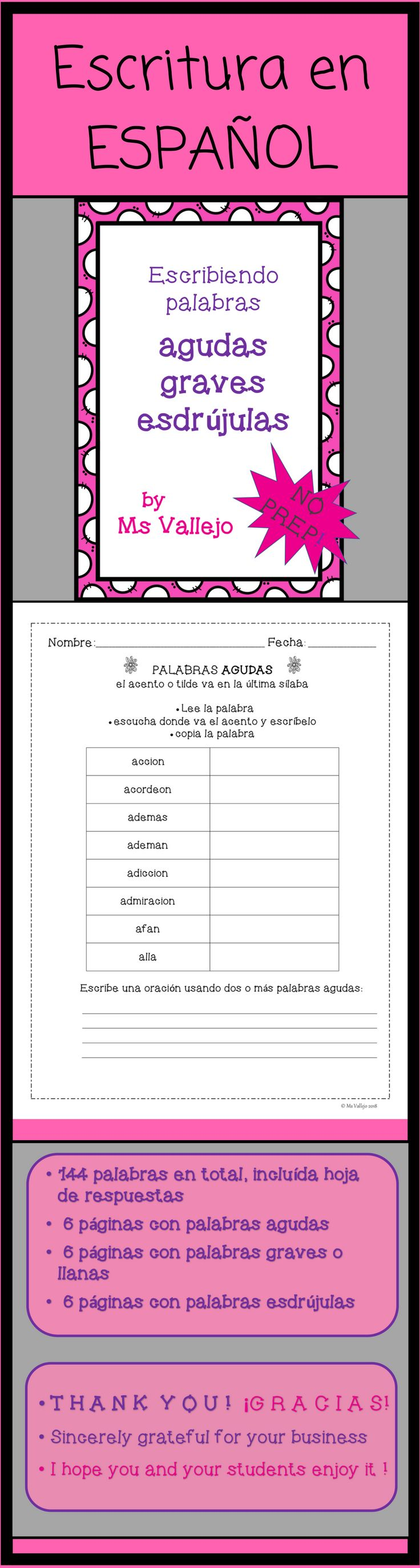 "These worksheets in Spanish are ready to go. Includes answer sheet. It will help your students at practicing writing with ""acento o tilde."" **Estas hojas de trabajo en español son imprimibles. Ayudarán a tus estudiantes a practicar escribiendo ""palabras con acento: agudas, graves o llanas y esdrújulas."""