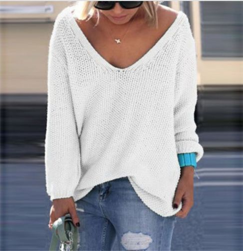 V-neck Loose Knit Pure Color Pullover Sweater http://bellanblue.com