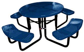 "The 46"" Round Perforated Metal Commercial Picnic Table is constructed of 11-gauge steel with a thermoplastic finish. This table is available in multiple color choices."