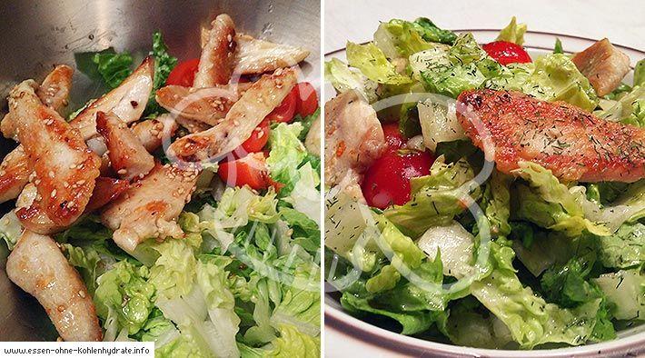 Low Carb Rezept für Salat mit Honig-Sesam-Putenstreifen. Wenig Kohlenhydrate und einfach zum Nachkochen. Super für Diät/zum Abnehmen.