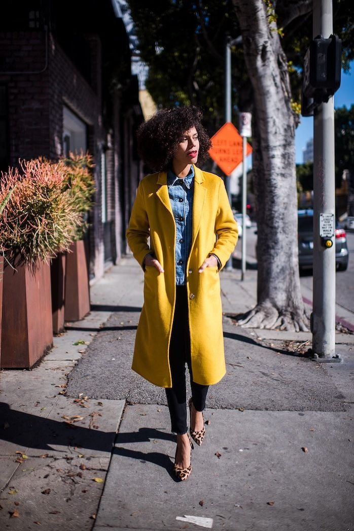 STYLE ME GRASIE - Bright Yellow Coat (Topshop), Denim Jacket (Levi's). Leopard print pumps (Carmen Steffens) to complete the look / OOTD Blogger Street Style