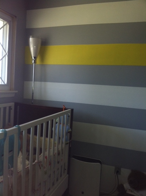 Gray White And Yellow Wall Stripes Girls New Room