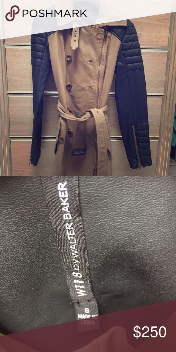Walter baker trench coat New Walter Baker Trench Coat with Leather sleeves, size small W118 by Walter Baker Jackets & Coats Trench Coats