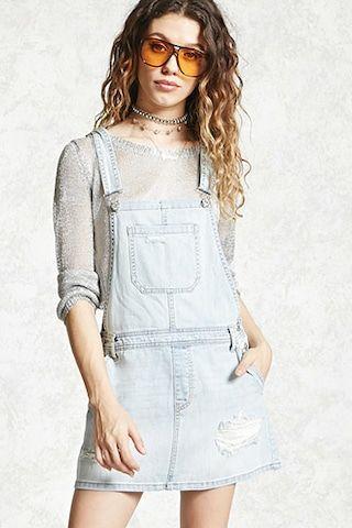Distressed Overall Mini Dress