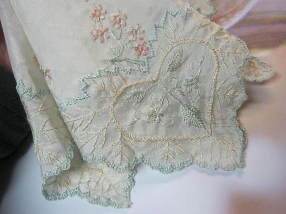 Ivory Embroidered Vintage Handkerchief