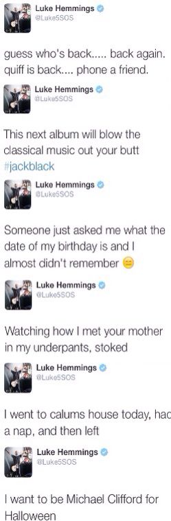 Luke hemmings in one photo>> except he didn't mention anything about Liz