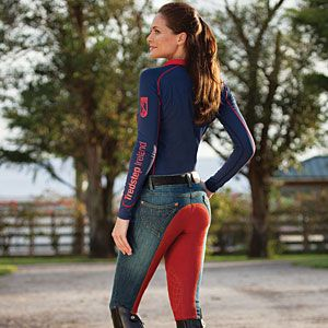 Denim and Red Full Seat Breeches from Tredstep