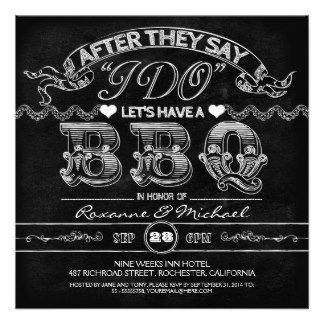 i do bbq wedding invitations | chalkboard BBQ stylish modern wedding invitation