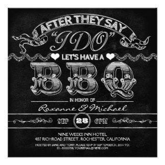 i do bbq wedding invitations   chalkboard BBQ stylish modern wedding invitation