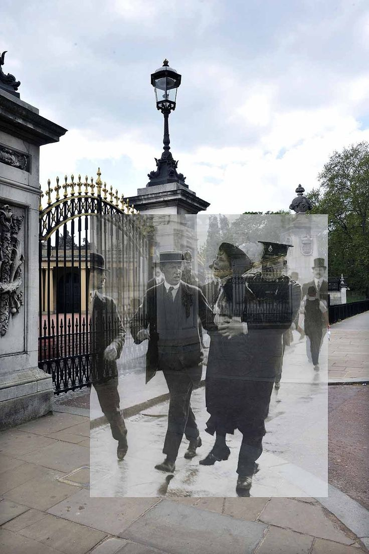 Emmeline Pankhurst being arrested while trying to present a petition to the King, 1914. (photos merged with their past) great website! http://www.buzzfeed.com/lukelewis/photos-of-londons-past-blended-with-its-present