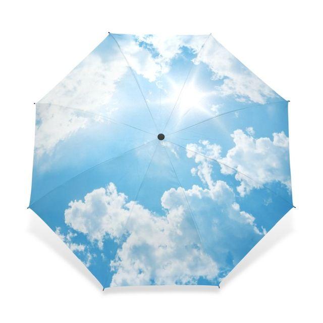 2017 Creative Luxury Fashion Three Folding Men Umbrella Sky Kazbrella Windproof Sun Rain Women Umbrella Accept Customized Design