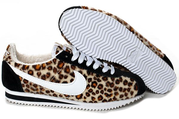 "because after 3 kids, 4"" heels are no longer my best friends :( Leopard Printed Nike Cortez For Women"