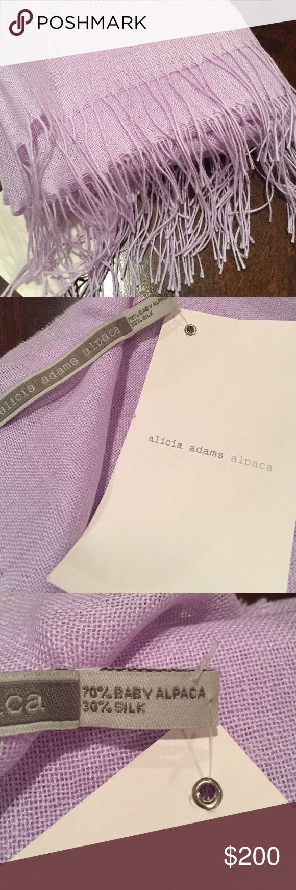 Alicia Adams Alpaca lavender scarf w/ fringe Aicia Adams Alpaca blanket lavender scarf. New with tags. 70% baby alpaca, 30% silk. Thin weave. Examples on alicia adams website. Alicia Adams Alpaca Accessories Scarves & Wraps