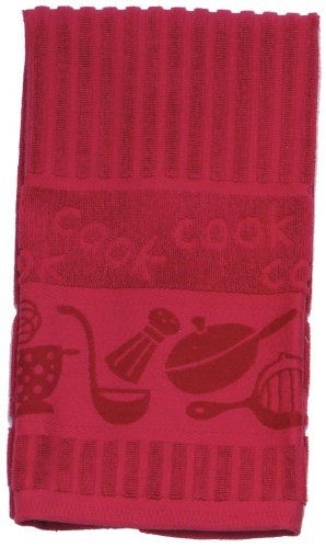 Collection Solid Color Jacquard Terry Kitchen Dish Towel   Kay Dee Designs    Red