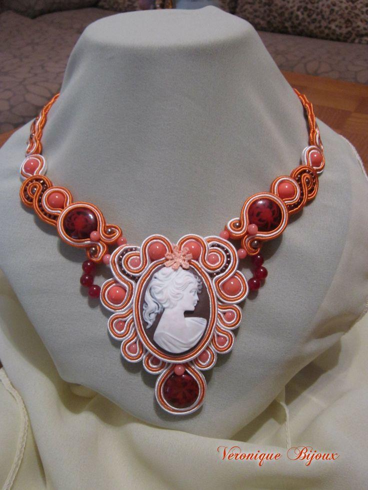 """"""" Heat woman's soul """" - soutache necklace"""