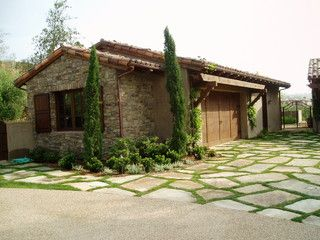 Tuscan, Stone, Flagstone Motorcourt   Mediterranean   Garage And Shed   San  Diego   The Design Build Company