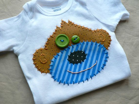 Monkey Applique Onesie or Shirt Custom Sizes and Colors on Etsy, $22.00