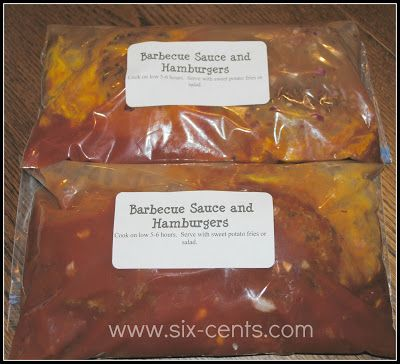 Fr+BBQ+and+Hamburgers Freezer Crockpot Meals to help with Back to School Routines