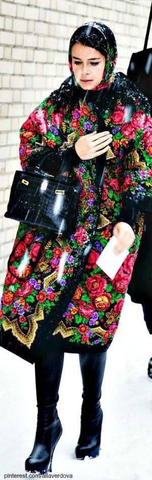 ooooh............. I've always loved this kind of print on scarves, but on a coat! !!!! Street style Miroslava Duma by kara