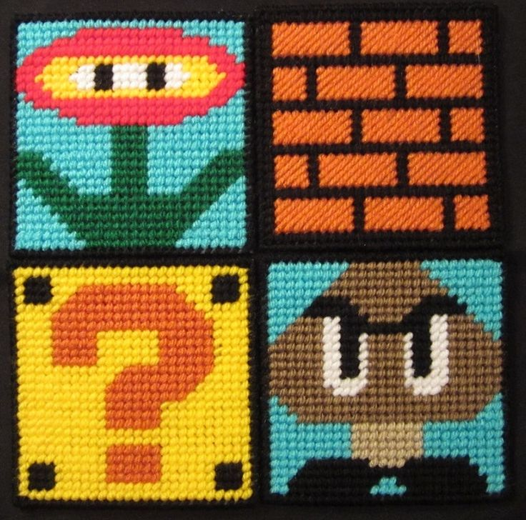 Super Mario Bros Coasters Made From Plastic Canvas by Robert                                                                                                                                                                                 More