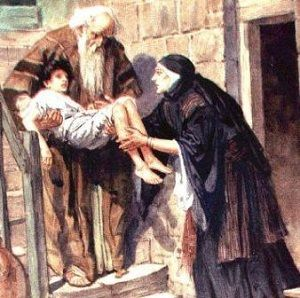 """Elisha Resurrects the Great Woman's Son. BIBLE SCRIPTURE: 1 Kings 17:23, """"And Elijah took the child, and brought him down out of the chamber into the house, and delivered him unto his mother: and Elijah said, See, thy son liveth."""""""