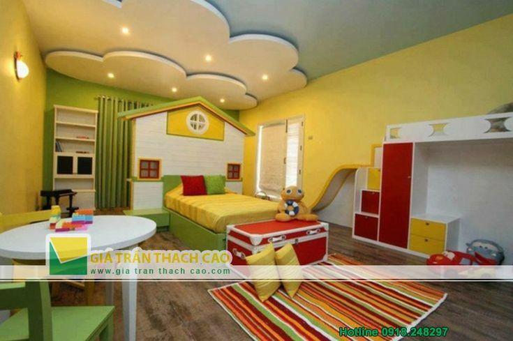 Thiết kế trần thạch cao cho phòng ngủ trẻ em 05
