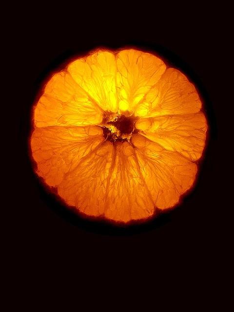 Orange slice with backlight.