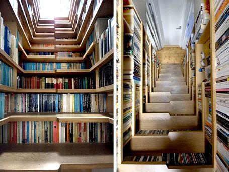 Bookshelves built into the stairs