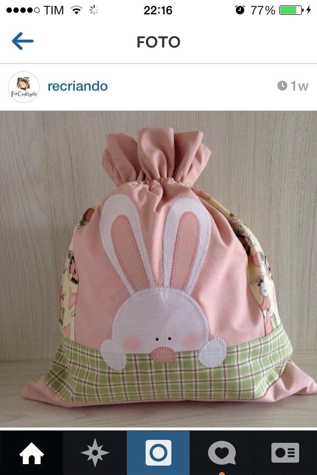 Bolsa de regalo con cordón, conejito de Pascua - Easter bunny gift bag with drawstring