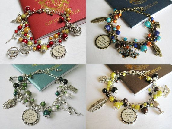 HP House Charm Bracelets. WANT THE RAVENCLAW ONE SO BAD. someone buy it for me for my birthday lol.