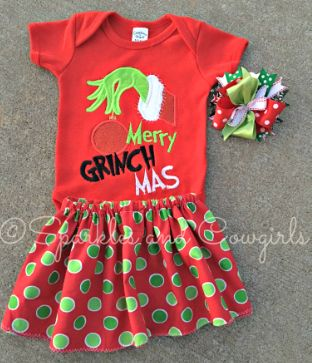 merry-grinch-mas boutique girls christmas outfit, boutique clothes, baby girl clothes, little girl clothes, new baby outfit, grinch outfit, grinch, baby skirt, christmas onesie