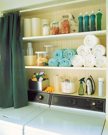 Mounted Laundry Room Shelves Laundry rooms are typically tiny -- install shelves and a curtain above the washing machine to keep laundry supplies tidy and hidden from sight. Stack towels for drying hand-washables on one shelf. Keep special stain remedies together in a galvanized metal box, and store mothballs and cedar chips in canning jars.