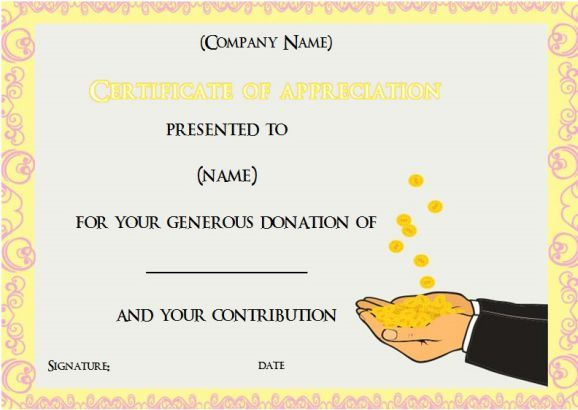 22 best Donation Certificate Templates images on Pinterest - certificate of appreciation