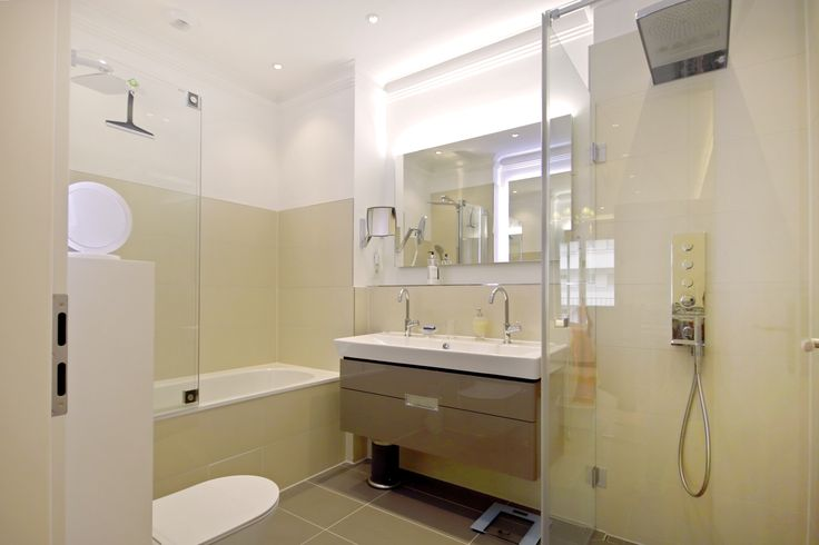 #Modern #bathroom with #glass #shower and #bathtub