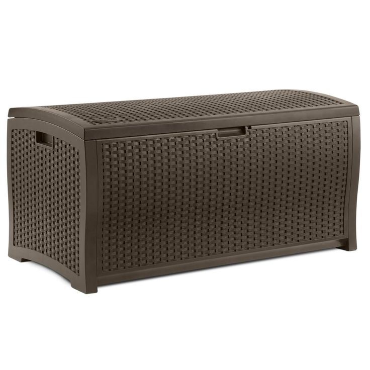 Suncast Resin 99-Gallon Deck Box - Mocha Brown - DBW9200 - Outdoor Benches at Hayneedle