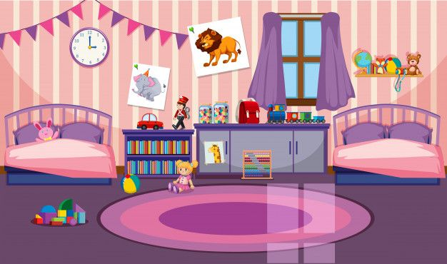 Interior Of Girls Room Free Vector Freepik Freevector Background Car Book Children Cartoon Background Cute Emoji Wallpaper Paper Doll House