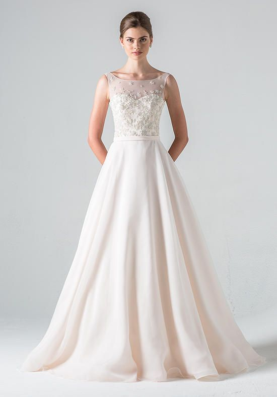 Illusion neckline with embroidered bodice and sheer back with A-line skirt of organza and chiffon | Blue Willow Bride by Anne Barge | https://www.theknot.com/fashion/peony-blue-willow-bride-by-anne-barge-wedding-dress