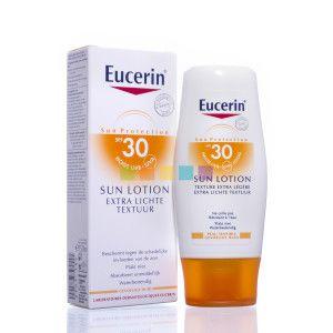 Eucerin Sun Lotion Extra Lichte Textuur SPF 30 heeft een extra lichte textuur die onmiddellijk in de huid wordt opgenomen. Deze zonnebescherming biedt een geavanceerde bescherming tegen huidbeschadiging door de zon.  Beschikbaar bij je online apotheek pharmamarket.