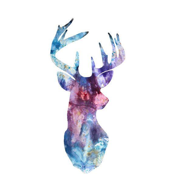 Deer Art Print Watercolor Deer Horn, Animal Art, Deer Watercolor Poster, Hunting Art – Set of 3 prints 141-2/175