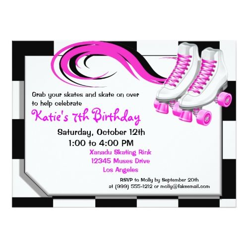 Roller Skate Birthday Invitations Roller Skating Party Custom Invitations